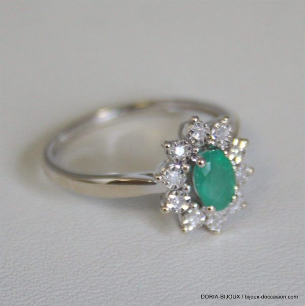 Bague Or 18k 750 Emeraude Et Diamants 2.7 Grs -50