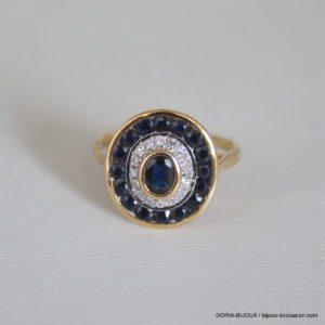 Bague Or 18k 750 Saphirs Diamants 3.7grs - 51