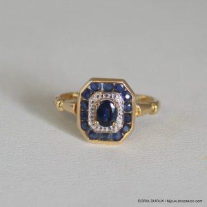 Bague Or 18k 750 Saphir Diamant 2.2grs - 45