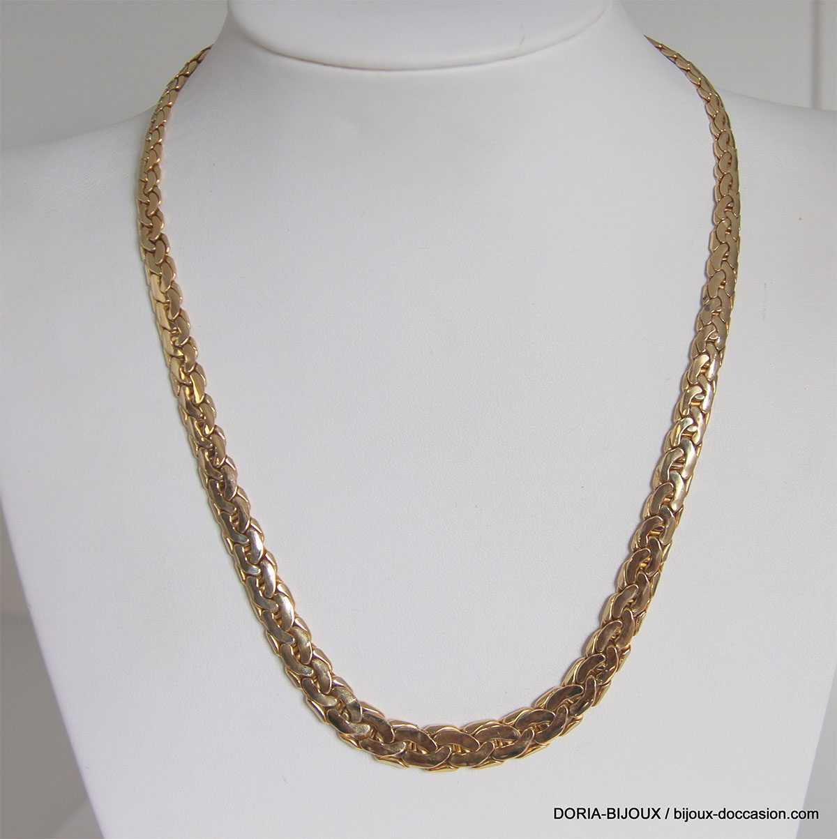 Collier Or 18k 750 Maille Haricot Chute 20.9grs