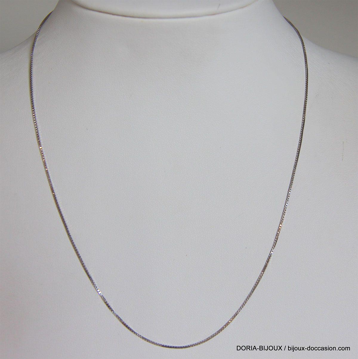 Chaine Or Gris 18k 750 Maille Venitienne 38cm-