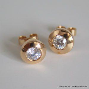 Boucles D'oreilles Oxyde De Zirconium Or 18k- 3.7grs