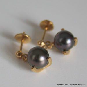 Boucles D'oreilles Pendantes Or 18k Perles -4.3grs