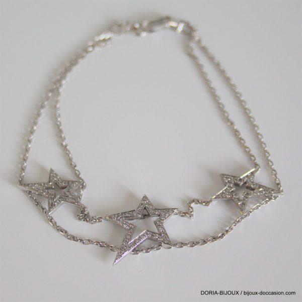 Bracelet Or Gris 750 18k 77 Diamants 5.5grs