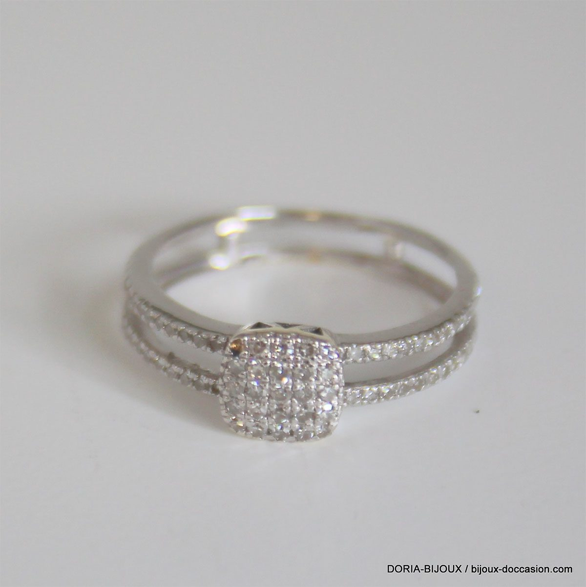 Bague Or Gris 18k 750 Pavage Diamants- 50