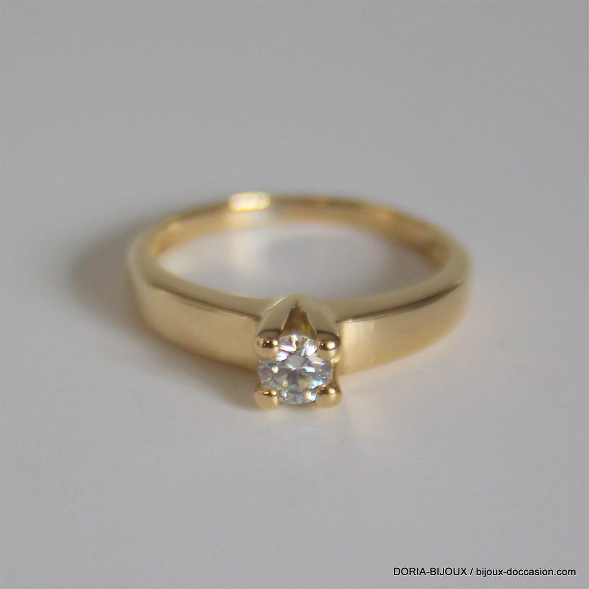 Bague Solitaire Or 750 Diamant 0.23carats 3.3grs -55