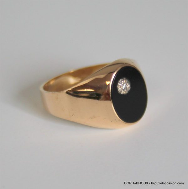 Bague Chevaliere Or 750 Onyx  Diamant 4grs - 56