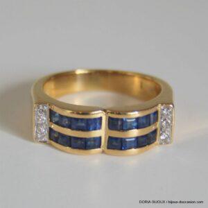Bague Or 18k, 750 Saphirs Diamants - 8.3grs- 55