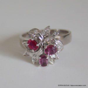 Bague Or Gris 18k, 750 Rubis Diamants 5.4grs- 53
