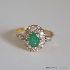 Bague Or 18k 750 Emeraude & Diamants - 4grs - 54