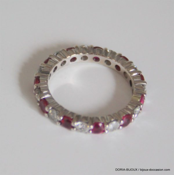 Bague Tour Complet Rubis Diamants - 3grs- 50