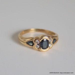 Bague Or Jaune 18k 750 Saphirs Diamants - 3.20 Grs -