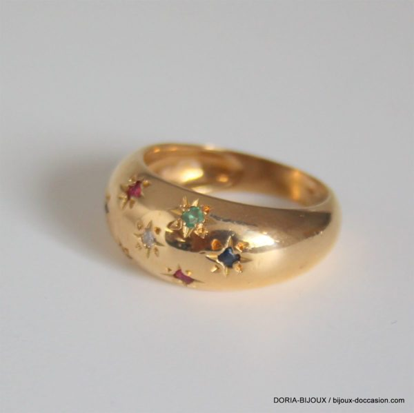 Bague Jonc Or 18k Rubis Saphirs Emeraudes Diamant-