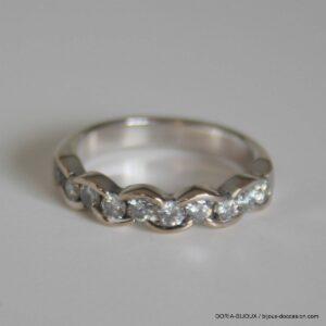 Bague Or Gris 18k 750 Demi Alliance Diamants- 54