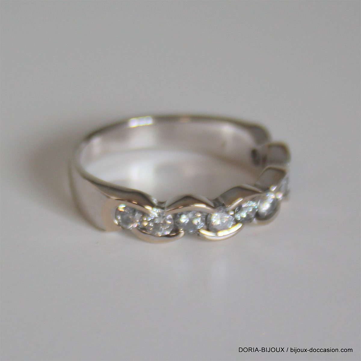 Bague Or Gris 18k 750 Demi Alliance Diamants- 54