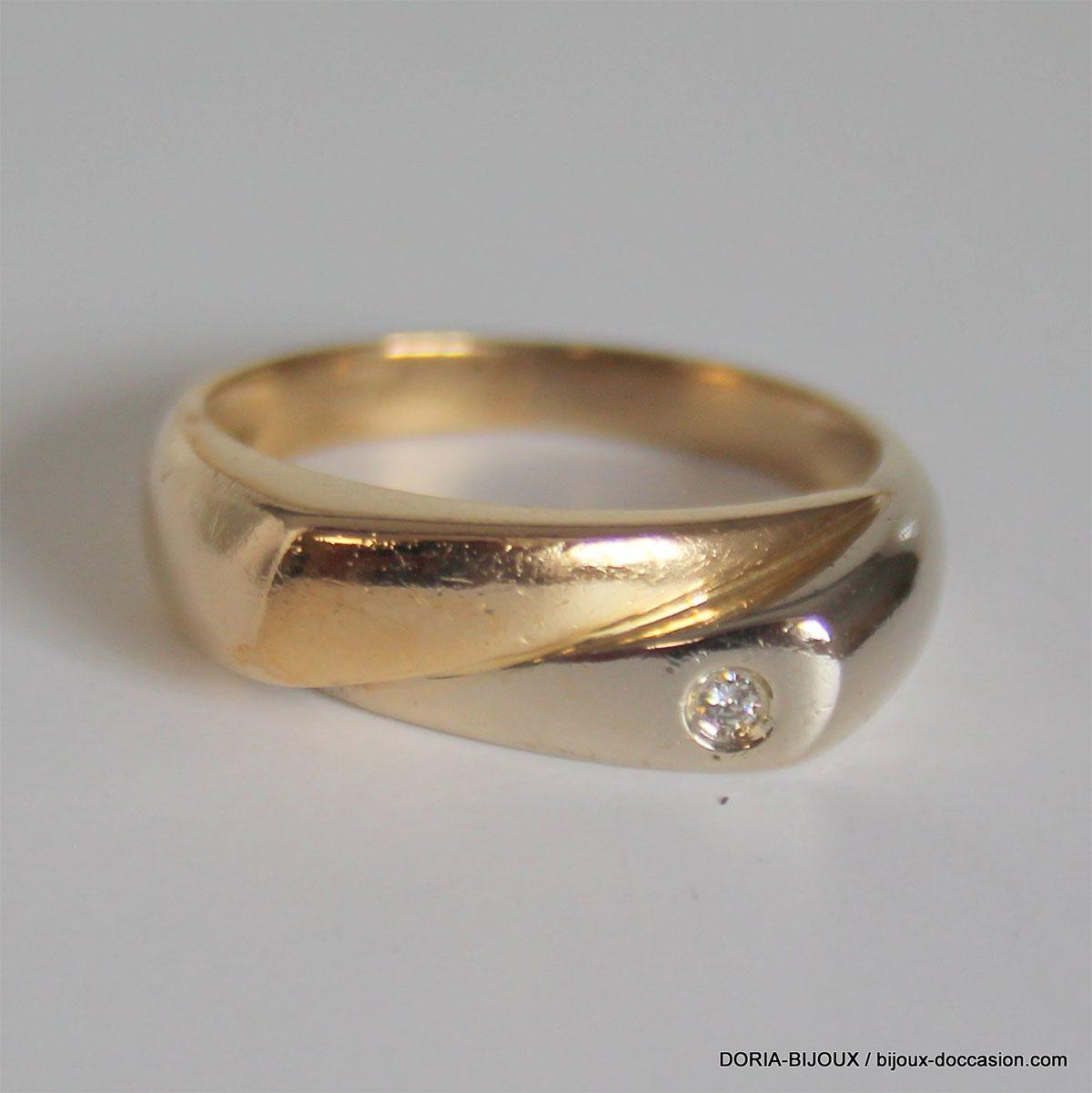 Bague Chevaliere Or 750 18k Diamant 4grs - 60