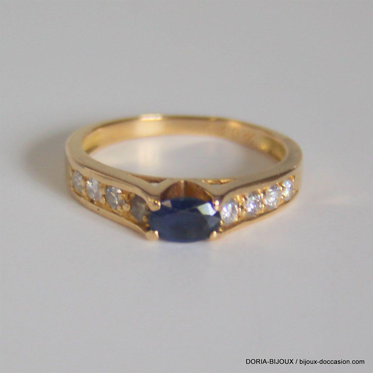 Bague Or 750 Saphir Diamants 3.7grs -55