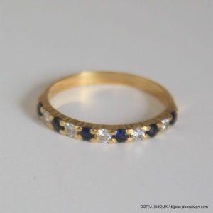 Bague Or 18k Saphirs Diamants - 1.80grs - 53