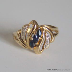 Bague Or 750 Saphir Diamants 3.4grs -55
