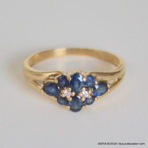 Bague Or 18k, 750 Saphirs & Diamants - 2.3grs -54