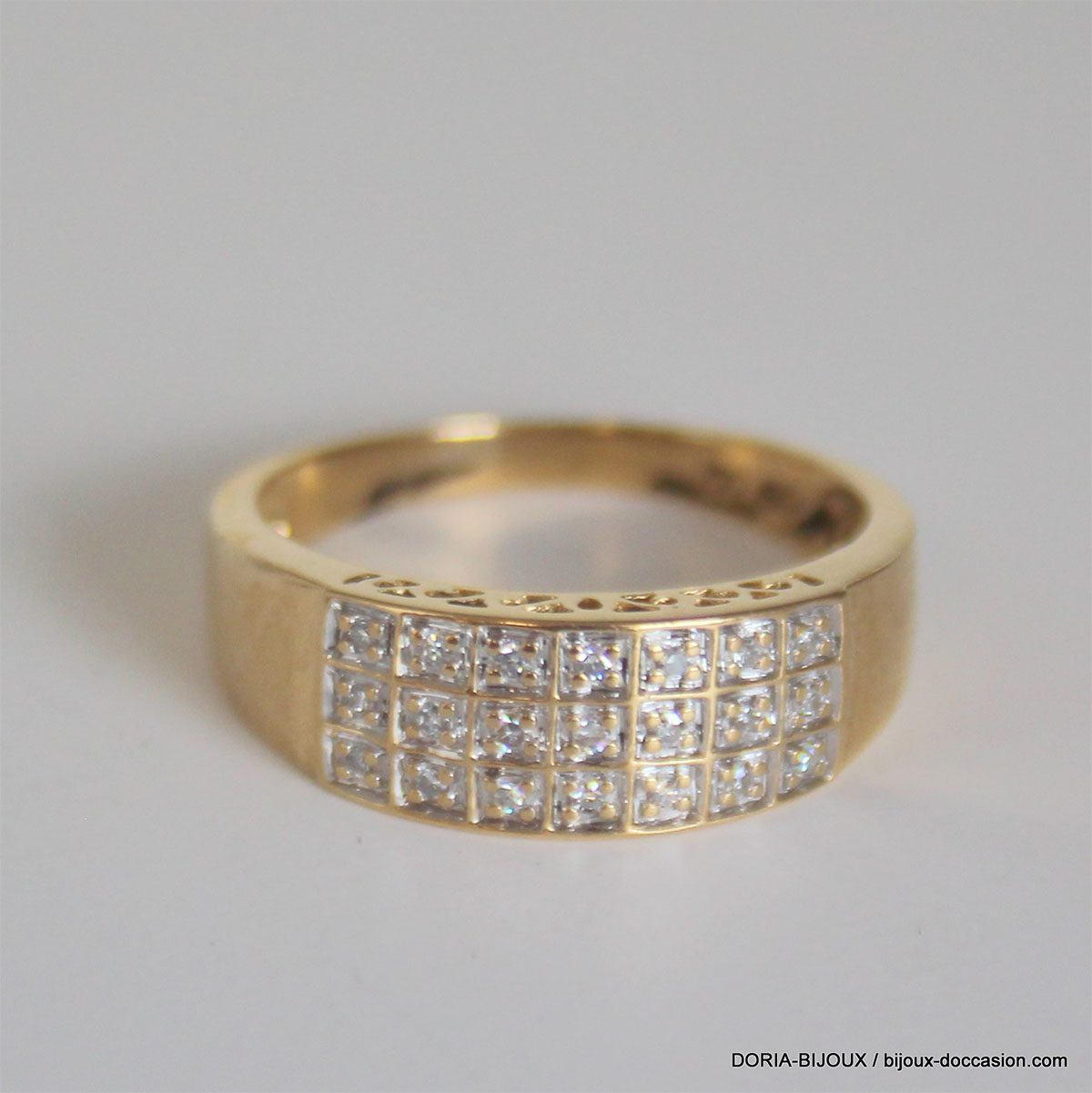 Bague Or Bicolore 18k Pavage Diamants-3.5grs