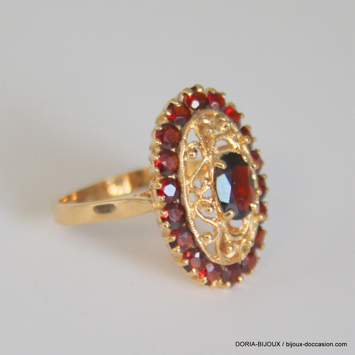 Bague Vintage Or 18k 750 Grenats - 4.7grs - 54