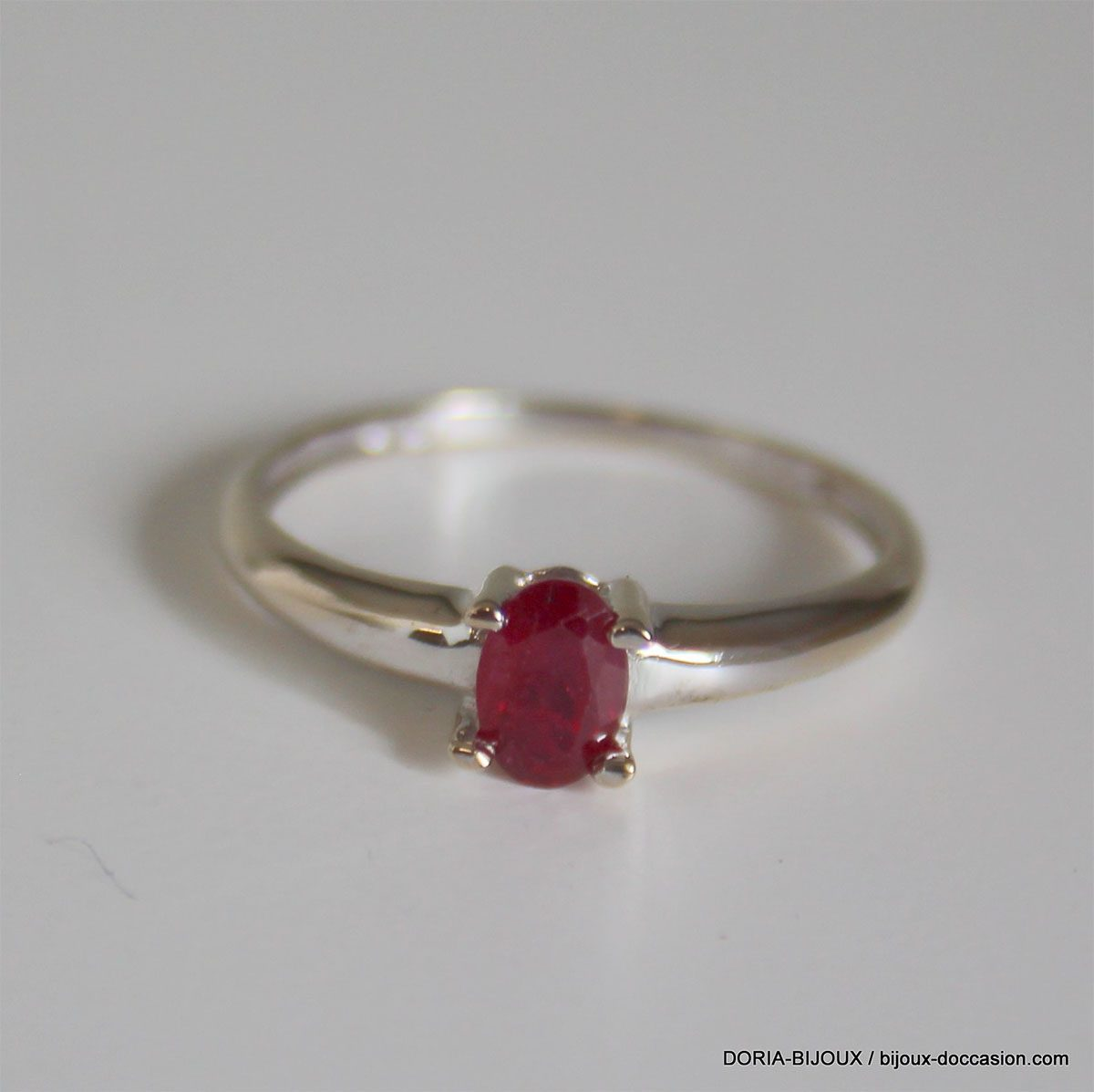 Bague Or Gris 18k 750 Rubis 1.7grs -55