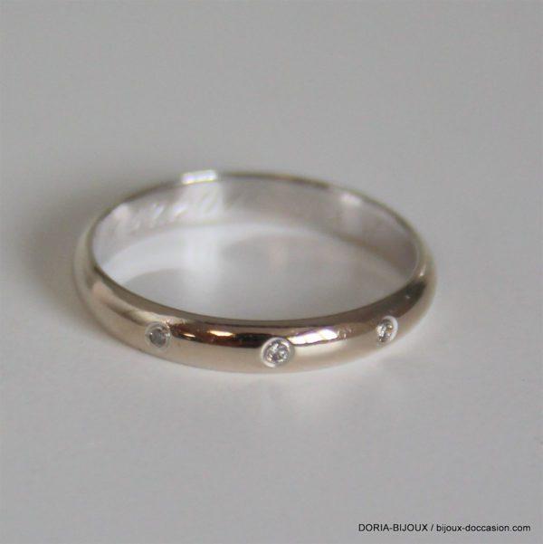 Bague Or Gris 18k 750  Diamants- 2.3grs - 53