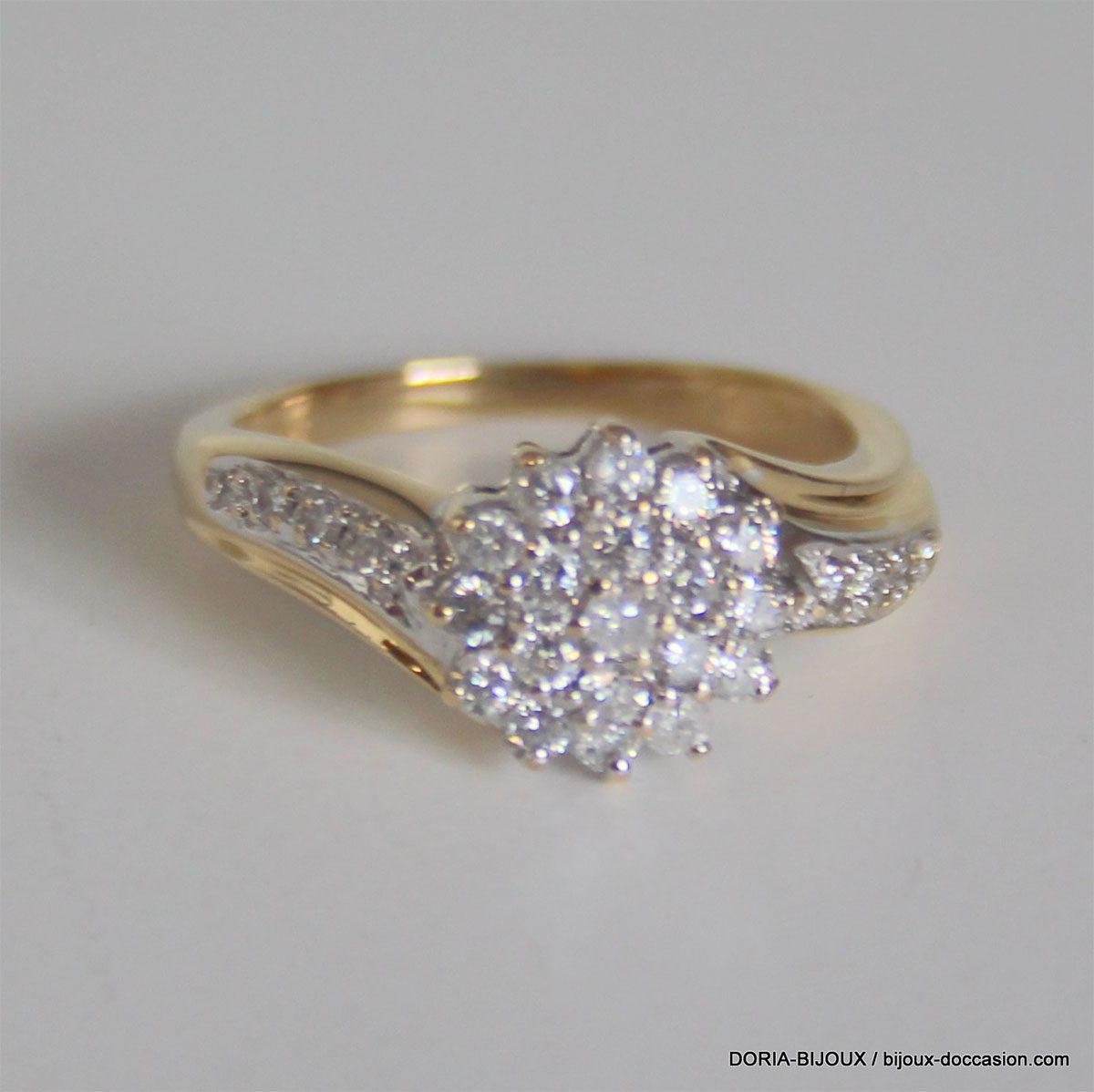 Bague Or Bicolor 18k 750  Diamants- 4.2grs - 50