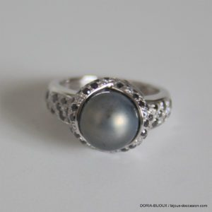 Bague Mauboussin Or Gris Perles Diamants -50- 6.6grs