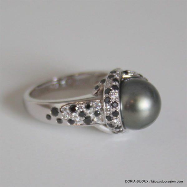Bague Mauboussin Or Gris Perles Diamants -50- 6.6grs