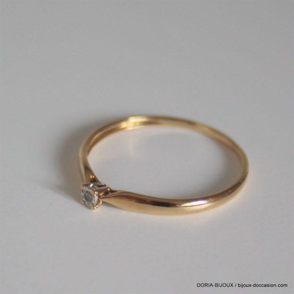 Bague Or 750 18k Diamant 0.01ct 0.8grs - 52