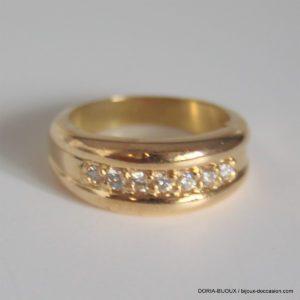 Bague Or Jaune 18k 750- 7  Diamants- 4.7grs - 51