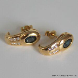 Boucles D'oreilles Or 750 18k Saphirs Diamants -4.1g