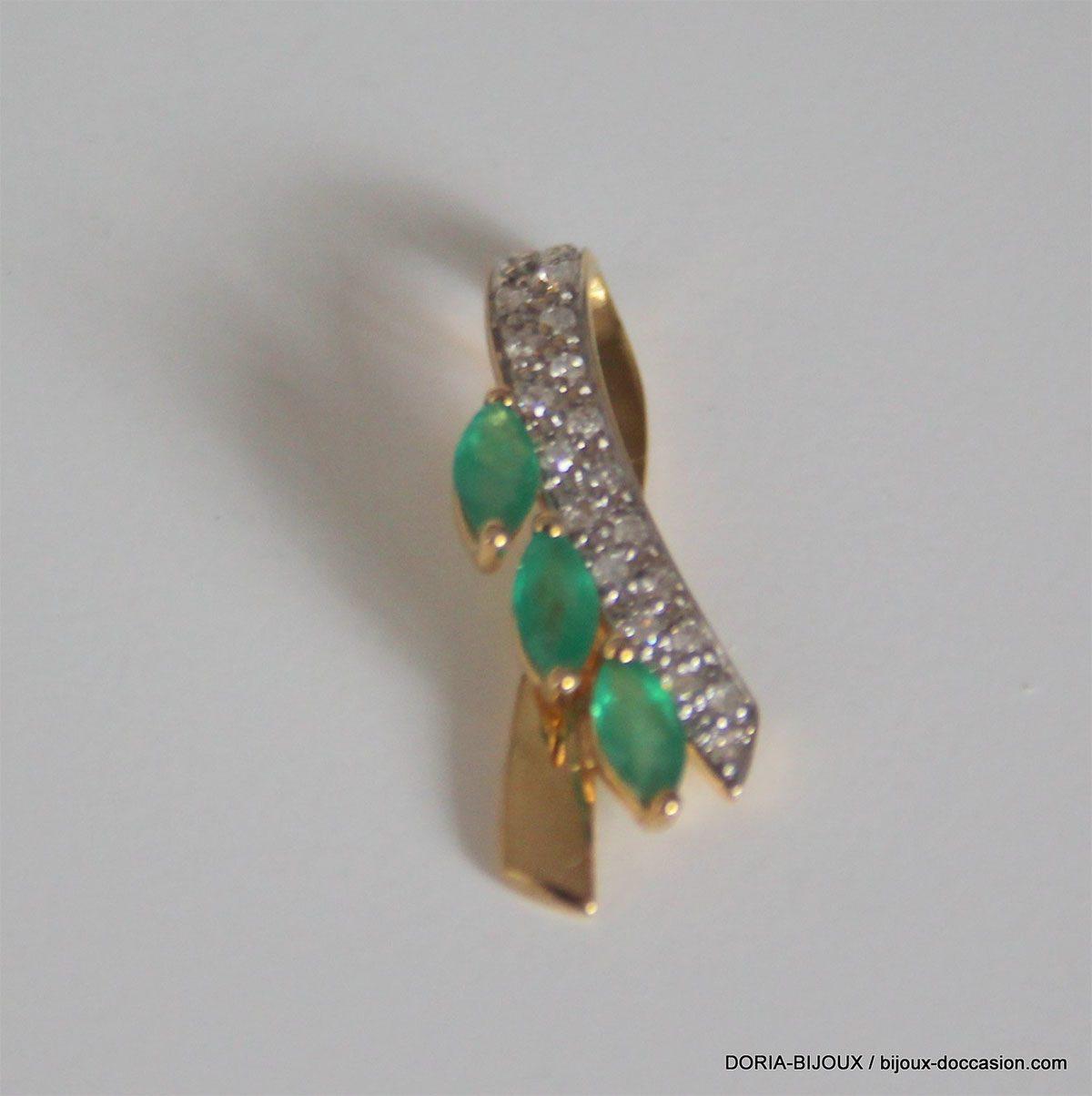 Pedentifs Or 18k 750 Emeraudes & Diamants- 1.4grs