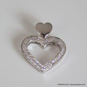 Pendentif Or Blanc 18k  750 Coeur Diamants - 2.30grs