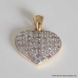 Pendentif Coeur Or Bicolore 18k 750 Pavage Diamants