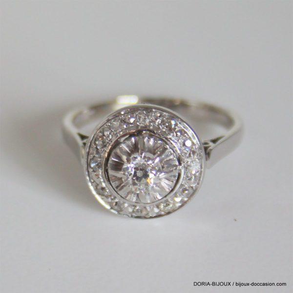 Bague Vintage Or Gris 18k 750 Diamants - 3.90grs -53