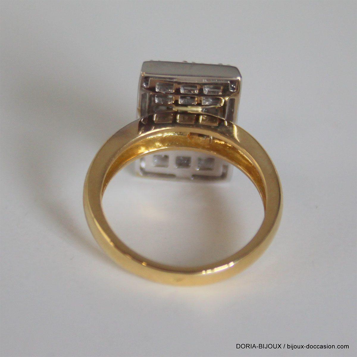 Bague Or 18k 750 Pavage Diamants - 5.60grs - 50