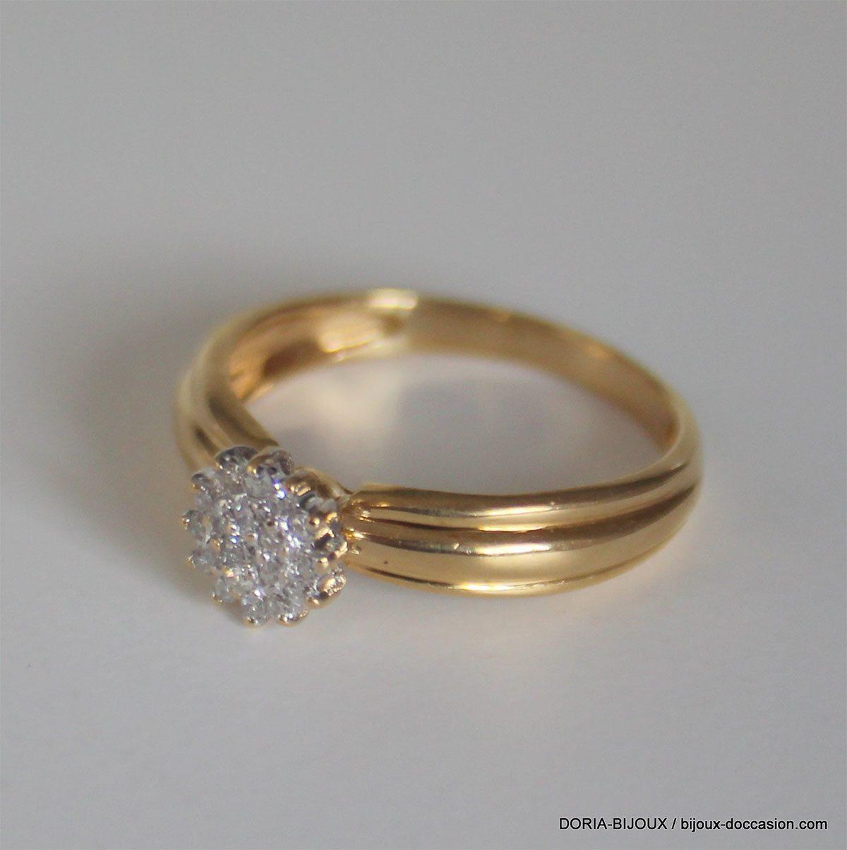 Bague Or Bicolore 18k 750 Diamants - 2.60grs - 50