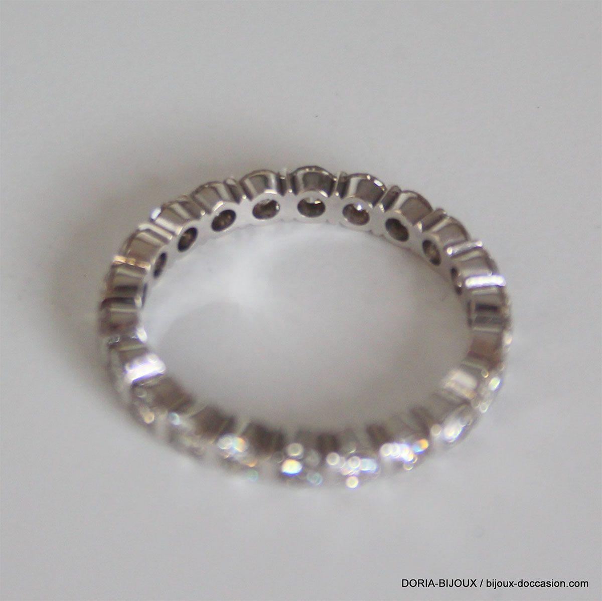 Bague Or Gris 18k 750 Tour Complet Diamants - 2.2grs