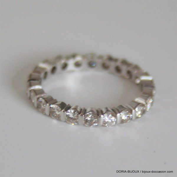 Bague Or Gris 18k 750 Tour Complet Diamants - 2.2grs