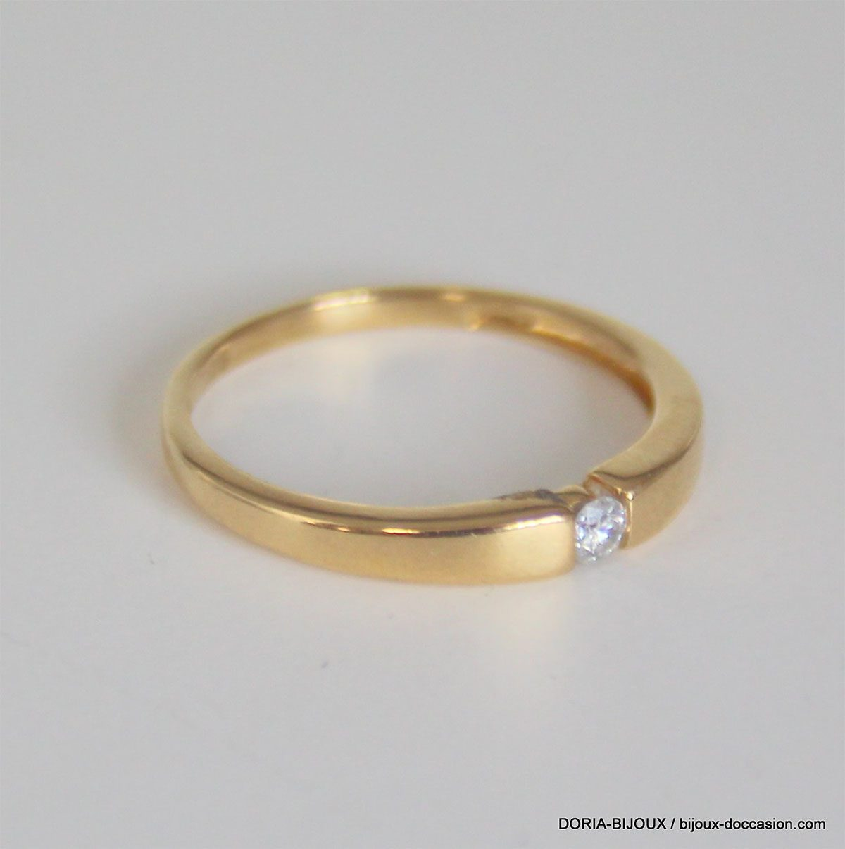 Bague Or 18k 750 Solitaire Diamants - 0.06grs