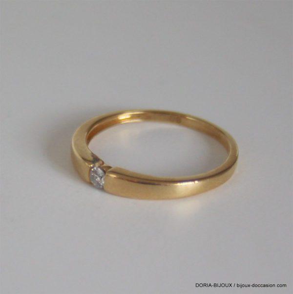 Bague Or 18k 750 Solitaire Diamants - 0.06grs