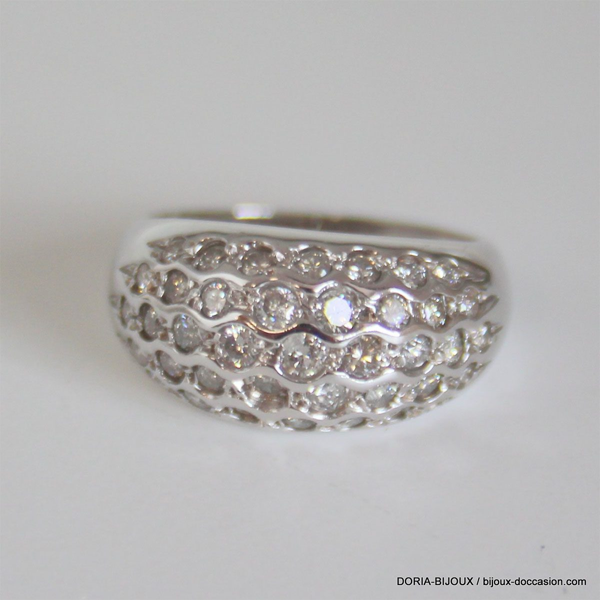 Bague Or Gris 18k 750 Pavage Diamants -5.90grs - 54