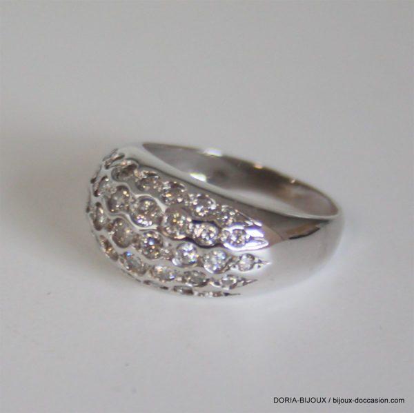 Bague Or Gris 18k 750 Pavage Diamants -5.90grs - 54