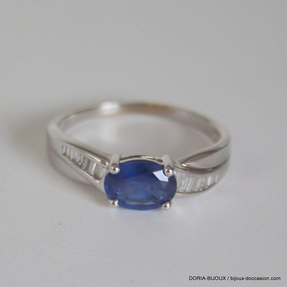 Bague Or 18k 750 Saphir Diamants - 3.20grs- 58