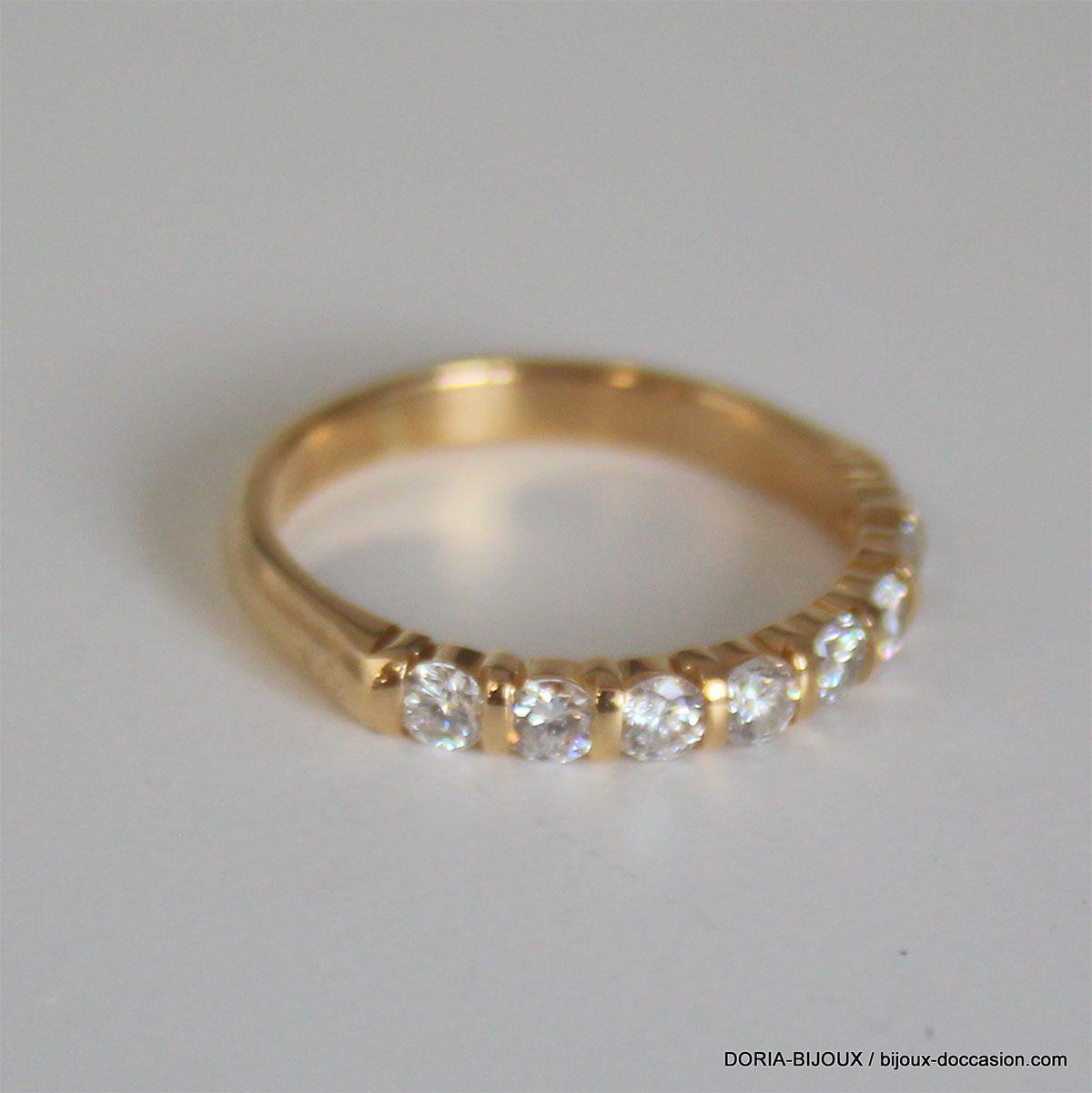 Bague Or 18k 750 Demi Tour Diamants - 2.60grs- 52