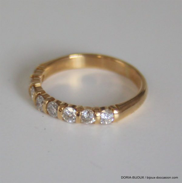 Bague Or 18k 750 Demi Tour Diamants - 2.60grs- 52