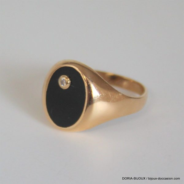 Bague Chevalière Or 18k 750 Onyx Diamants -4.5grs